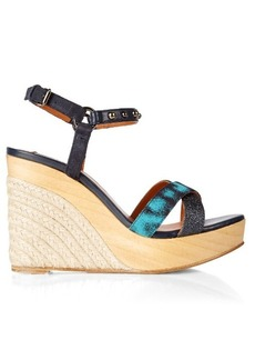 Lanvin Embellished leather wedge sandals