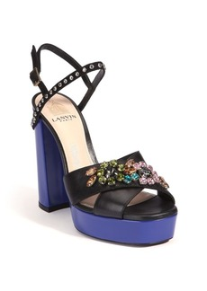 Lanvin Embellished Two-Tone Leather Platform Sandals