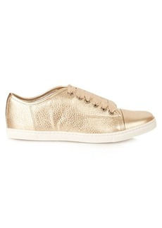 Lanvin Capped-toe grained-leather low-top trainers