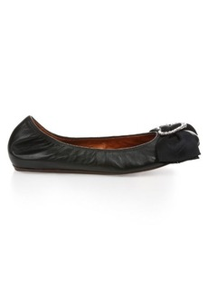 Lanvin Heart-embellished leather ballet flats