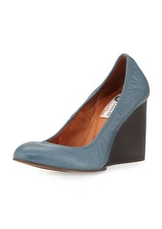 Lanvin Lizard-Embossed Wedge Pump