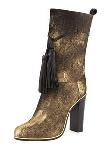 Lanvin Metallic Calf-Hair Tassel Boot