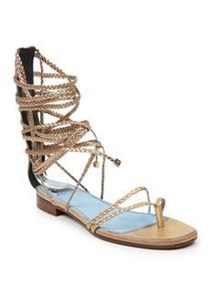 Lanvin Multi-Braided Metallic Leather Flat Sandals