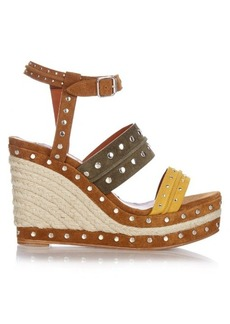 Lanvin Stud-embellished suede wedge sandals