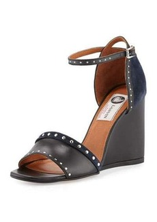Lanvin Studded Leather/Suede Wedge Sandal