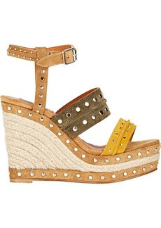 Lanvin Studded Platform Wedge Sandals