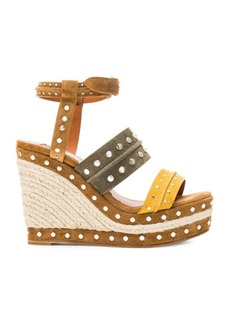 Lanvin Studded Suede Wedge Sandals