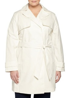 Laundry by Design Plus Belted Lace-Back Trenchcoat