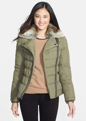 Laundry by Shelli Segal Laundry by Design Quilted Puffer Coat with Faux Fur Collar and Zip-Off Sleeves