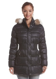 Laundry by Design Three-Quarter Cinch Waist Puffer Coat