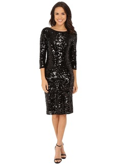 Laundry by Shelli Segal 3/4 Sleeve All Over Sequin Mesh Dress