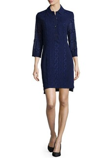 Laundry by Shelli Segal 3/4-Sleeve Embroidered Shirtdress