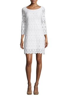 Laundry by Shelli Segal 3/4-Sleeve Round-Neck Dress