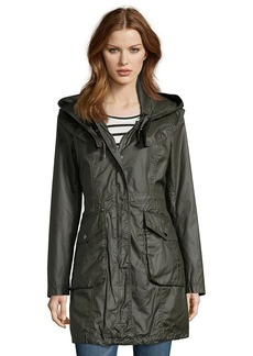 Laundry by Shelli Segal army green waxed cotton hooded a...