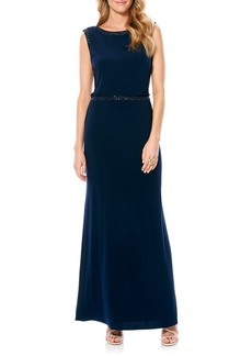 Laundry by Shelli Segal Beaded Blouson Jersey Gown