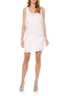 Laundry by Shelli Segal Beaded Chiffon Popover Dress