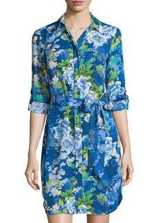 Laundry by Shelli Segal Belted Floral Long-Sleeve Shirtdress