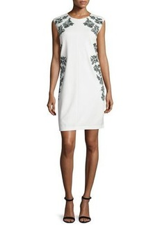 Laundry by Shelli Segal Cap-Sleeve Floral-Embroidered Dress