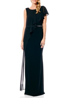 Laundry by Shelli Segal Chiffon Overlay Gown