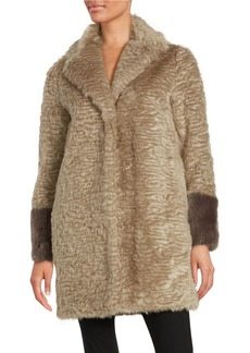 LAUNDRY BY SHELLI SEGAL Collared Faux Fur Coat