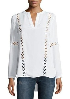 Laundry by Shelli Segal Crochet-Trim Long-Sleeve Tunic