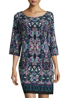 Laundry by Shelli Segal Cutout-Back Printed Jersey Dress
