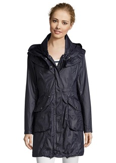 Laundry by Shelli Segal dark navy waxed cotton hooded an...