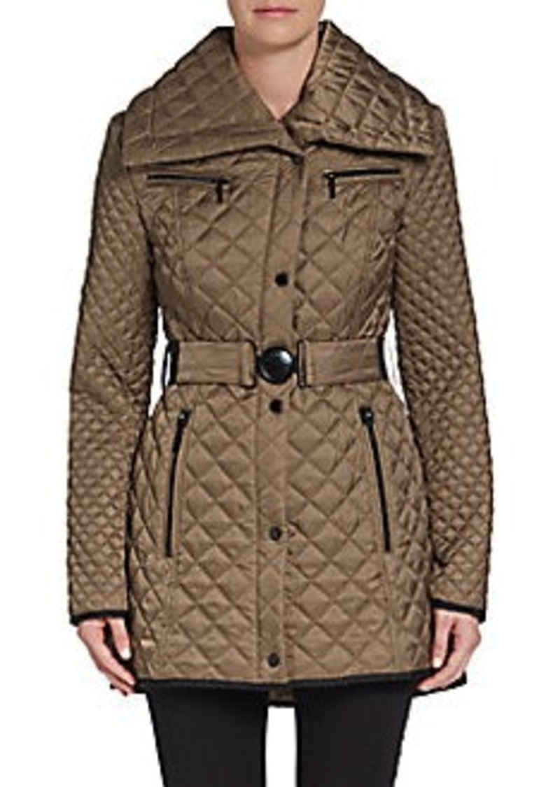 Laundry by Shelli Segal Diamond-Quilted Long Jacket
