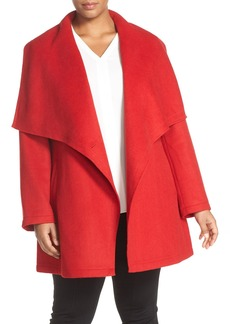 Laundry by Shelli Segal Double Face Drape Collar Coat (Plus Size)
