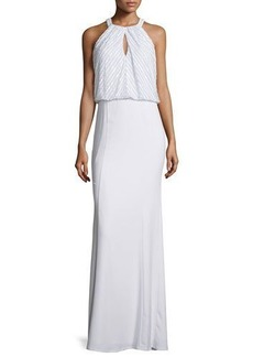 Laundry by Shelli Segal Embellished Bodice Crepe Gown