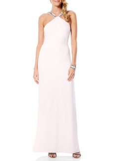 Laundry by Shelli Segal Embellished Crepe Gown
