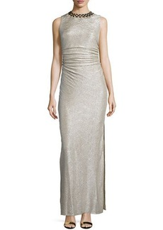Laundry by Shelli Segal Embellished-Neck Shirred Gown