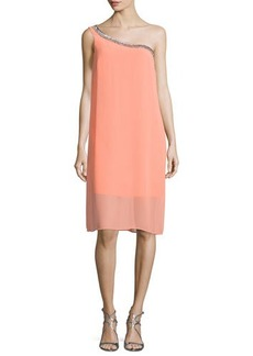 Laundry by Shelli Segal Embellished One-Shoulder Shift Dress