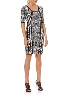 LAUNDRY BY SHELLI SEGAL Exotic Print Banded Sheath Dress