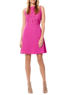 Laundry by Shelli Segal Eyelet Embroidered Bodice A-Line Dress