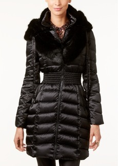 Laundry by Shelli Segal Faux-Fur-Collar Quilted Puffer Coat