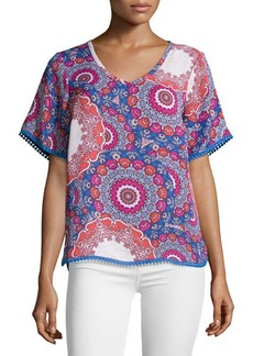 Laundry by Shelli Segal Floral-Medallion Chiffon Blouse