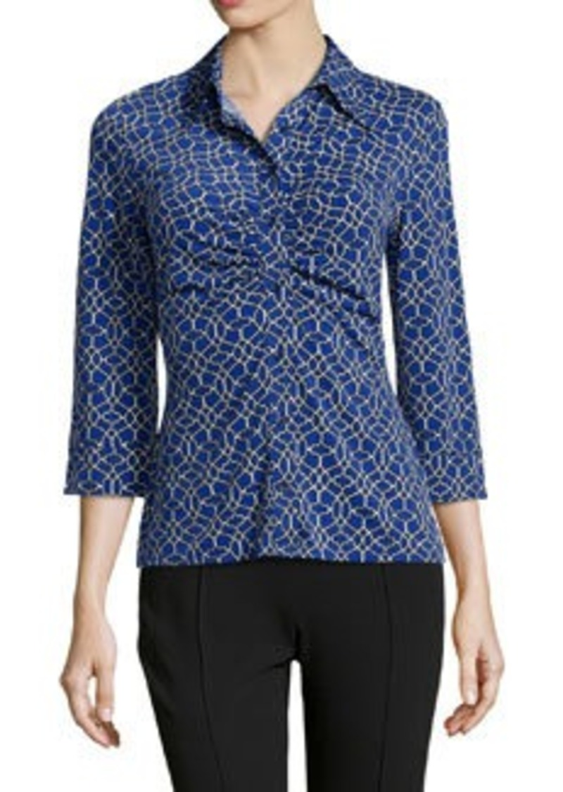 Laundry by Shelli Segal Geo-Print Ruched Jersey Top, Starlet/Multi