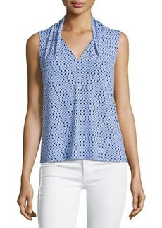 Laundry by Shelli Segal Geometric-Print Drop-Neck Top