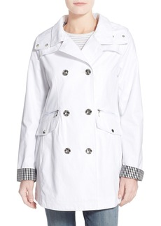 Laundry by Shelli Segal Gingham Trim Double Breasted Hooded Coat