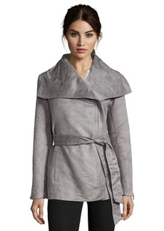 Laundry by Shelli Segal grey faux suede asymmetrical zip...