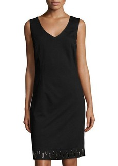Laundry by Shelli Segal Grommet-Hem V-Neck Sleeveless Dress