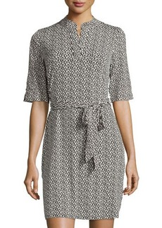 Laundry by Shelli Segal Half-Sleeve Printed Mandarin-Collar Dress