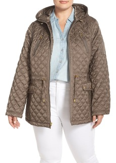 Laundry by Shelli Segal Hooded Quilted Drop Tail Jacket (Plus Size)