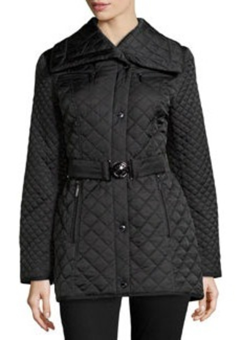 Laundry by Shelli Segal Long Diamond-Quilted Rhinestone-Detailed Jacket, Black