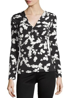 Laundry by Shelli Segal Long-Sleeve Gathered Printed Knit Top