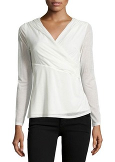Laundry by Shelli Segal Long-Sleeve Side-Twist Chiffon Top