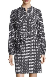 Laundry by Shelli Segal Mandarin-Collar Graphic Dress