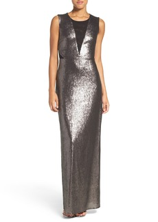 Laundry by Shelli Segal Mesh Neck Sequin Gown