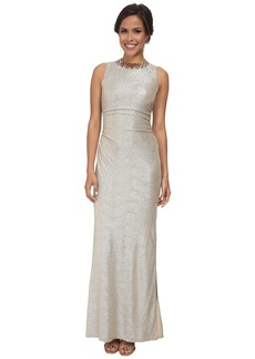 Laundry by Shelli Segal Metallic Side Shirred Gown with Gold Necklace